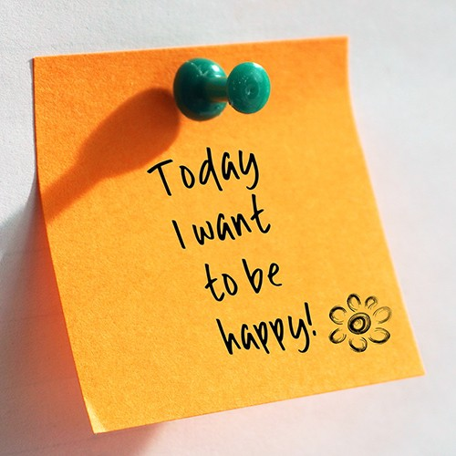 Today I want to be happy written on a orange post it
